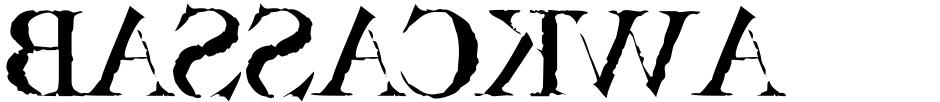 Click to view Bassackwards font, character set and sample text