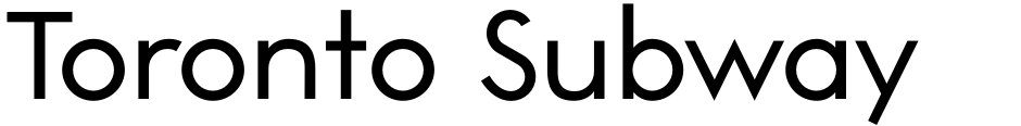 Click to view Toronto Subway font, character set and sample text