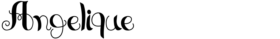 Click to view Angelique font, character set and sample text