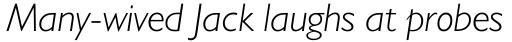 Humanist 521 Light Italic sample