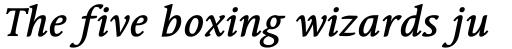 Linotype Syntax Serif OsF Medium Italic sample