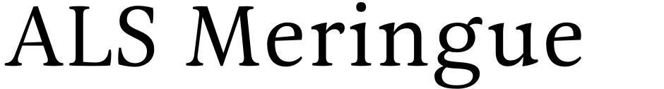 Click to view ALS Meringue font, character set and sample text