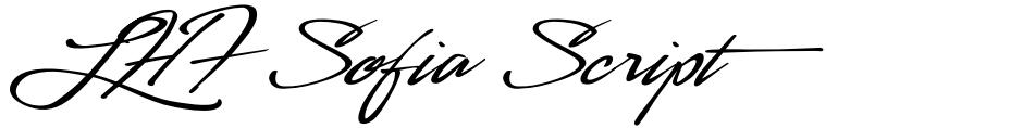 Click to view LHF Sofia Script font, character set and sample text