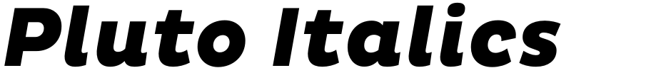 Click to view Pluto Italics font, character set and sample text