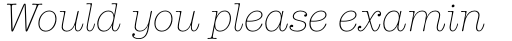 American Typewriter Std Light Italic sample