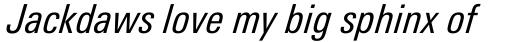 Linotype Univers 421 Condensed Italic sample
