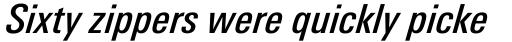 Linotype Univers 521 Condensed Medium Italic sample