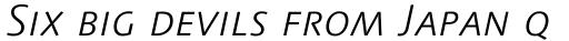 Linotype Syntax Light Italic SC sample
