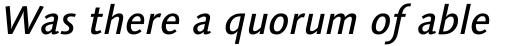 Linotype Syntax Medium Italic OsF sample