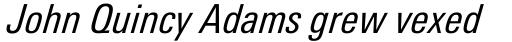 Linotype Univers Com 421 Condensed Italic sample