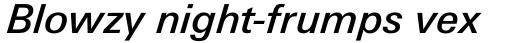Univers Next Paneuropean W1G 531 Medium Italic sample