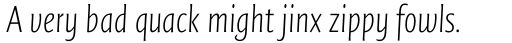 FF Quadraat Sans OT Condensed ExtraLight Italic sample