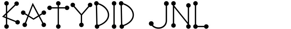 Click to view Katydid JNL font, character set and sample text