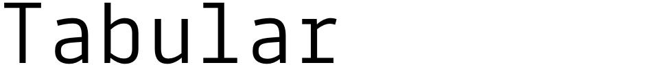 Click to view Tabular font, character set and sample text
