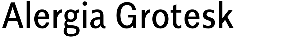Click to view Alergia Grotesk font, character set and sample text