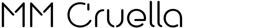 Click to view MM Cruella font, character set and sample text