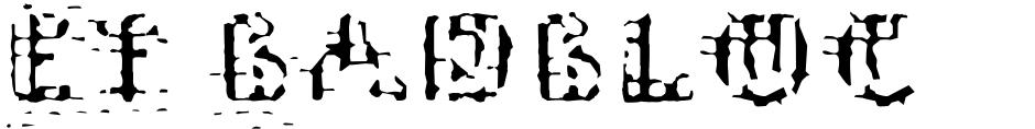 Click to view EF Badblocks font, character set and sample text