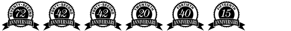 Click to view Anniversary Seals font, character set and sample text